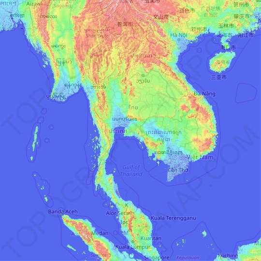 Thailand topographic map, elevation, relief