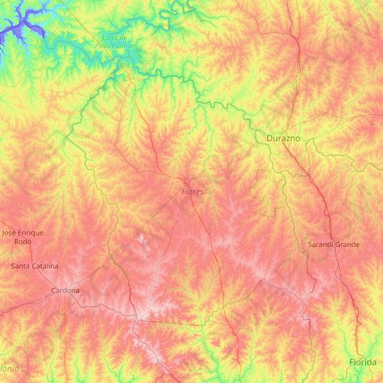 Flores topographic map, elevation, relief