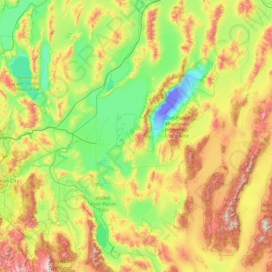 Churchill County topographic map, relief map, elevations map