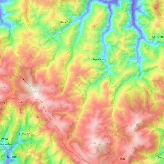 Brusnik topographic map, relief map, elevations map