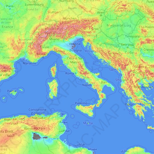 Italy topographic map, relief map, elevations map