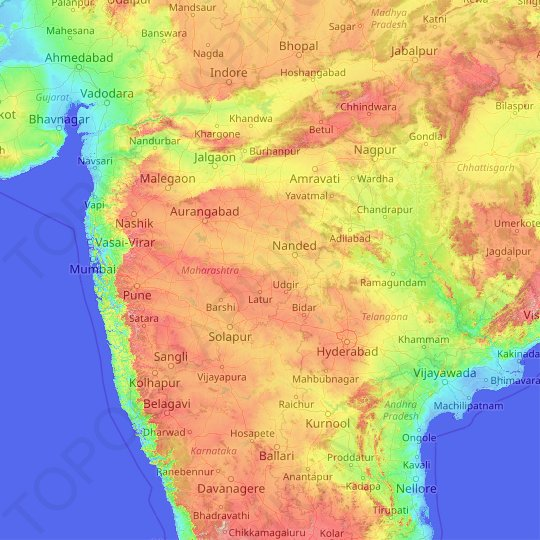 Maharashtra topographic map, elevation, relief