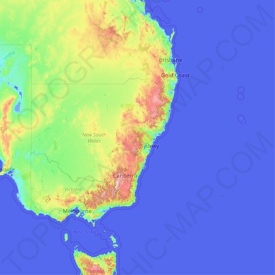 New South Wales topographic map, elevation, relief