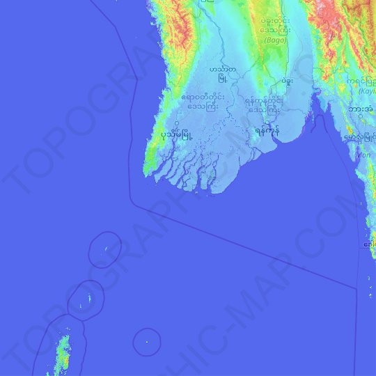 Yangon topographic map, relief map, elevations map