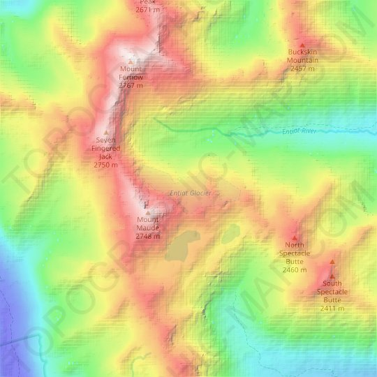 Entiat Glacier topographic map, relief map, elevations map