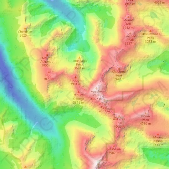 Fair Glacier topographic map, relief map, elevations map