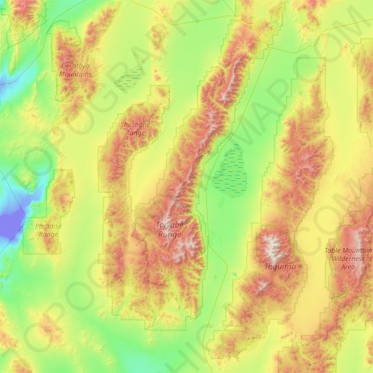 Toiyabe Range topographic map, relief map, elevations map