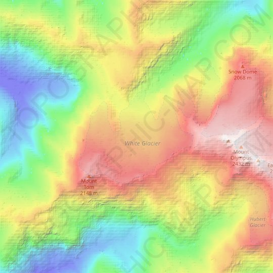White Glacier topographic map, relief map, elevations map